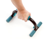 Detail push up fitness bars woman exercising Stock Photography