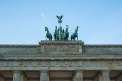 Detail quadriga on Brandenburg Gate (Brandenburger Tor) is a architectural monument in the heart of Berlin's Mitte district Stock Photos