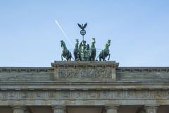 Detail quadriga on Brandenburg Gate (Brandenburger Tor) is a architectural monument in the heart of Berlin's Mitte district Royalty Free Stock Images