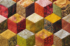 Detail of quilt. Sewn from pieces as diamonds stock photography