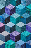 Detail of quilt sewn from rhombuses Royalty Free Stock Image
