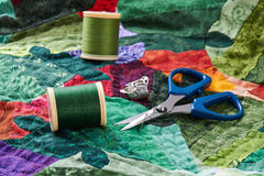 Detail of quilt stitches in the process Stock Image