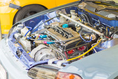 Detail of  Racing cars and Part of car engine Royalty Free Stock Images