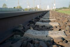 A Detail of Railroad Tracks royalty free stock image