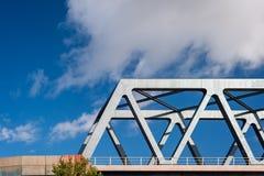 Detail of railway bridge and sunny day in Hamburg, Germany. stock photo