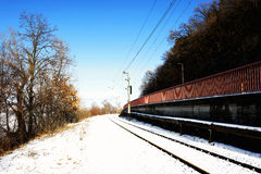 Detail of railway line in winter time , Hungary Royalty Free Stock Photos