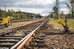 Detail railway turnouts on tracks Royalty Free Stock Photo