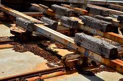Detail of Railworks. Detail of a Railingtrack for ships Royalty Free Stock Image