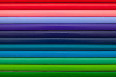 Detail of rainbow  colorful Pencil on the desk Royalty Free Stock Images