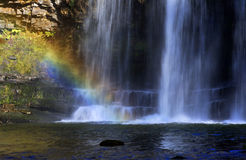 Detail with Rainbow, Sgwd yr Eira waterfall on the Afon Hepste Stock Photography