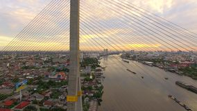 Detail of Rama 8 suspension bridge in Bangkok city Thailand stock video