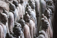 Detail of a rank of soldiers from the Army of Terracotta Warriors near Xian, Shanxi Royalty Free Stock Images