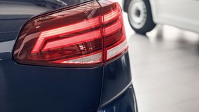 Detail on the rear light of a car. Car detail. Developed Car`s rear brake light royalty free stock photo