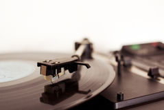 Detail of record player. Detail of arm with cartridge on record player for LP vinyl discs stock photography