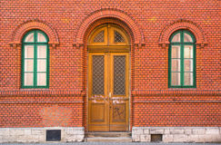 Detail of red brick building. Old workers' colony, Vitkovice, Ostrava, Czech Republic - detail of Rothschild palace, build by red bricks. National cultural stock photography