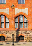 Detail of red brick buliding. Old workers' colony, Vitkovice, Ostrava, Czech Republic - detail of neo-gothic Town Hall, built by red bricks.National cultural stock photos