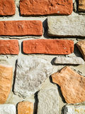 Detail of red brick wall, architectural element Stock Photo