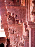 Detail of Red Carved Stonework at Agra Fort in India Stock Photos