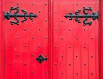 Detail of a Red Front Door Royalty Free Stock Images