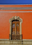 Detail of red mexican colonial house Stock Photos