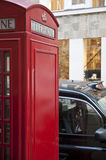 Detail of red phonebooth in London, UK. Stock Image