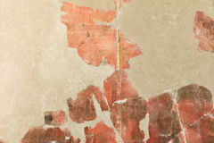 Detail of red pompeian fresco Royalty Free Stock Images