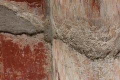 Detail of red pompeian fresco Royalty Free Stock Image