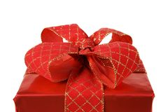 Detail of a red present Royalty Free Stock Image