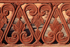 Detail of red sandstone balustrade, rajasthan, India Royalty Free Stock Photography