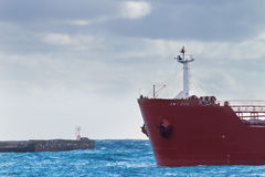 Detail of red ship's prow royalty free stock photography