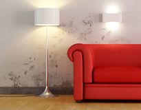 Detail of a red sofa. On old wall - digital artwork Royalty Free Stock Photo