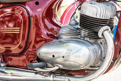 Detail of red veteran motorbike, meeting bikers Royalty Free Stock Photos