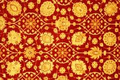 Detail of red & yellow turkish carpet. Detail of red & yellow traditional turkish carpet Stock Photo