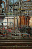 Detail of a refinery 3. Note: The focus is volontary at the centre area of the image. This refinery is located in East Montreal. Lens: Sigma 70-200 2.8 EX APO stock photos