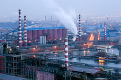 Detail of a refinery at night royalty free stock photography