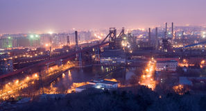 Detail of a refinery at night royalty free stock photo