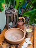 Detail of regional traditional craft, including clay pots. Maragogi, Brazil Royalty Free Stock Image