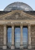 Detail of the Reichstag in Berlin with cupola Royalty Free Stock Photos