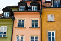 Detail of the restored old houses in the Warsaw Stock Photography