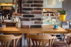 Detail of a retro restaurant interior, cup of cofe Stock Images