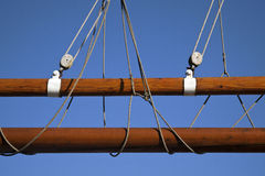 Detail of rigging of a historic sailboat Stock Photos