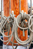 Detail of rigging on a sailboat Stock Photo