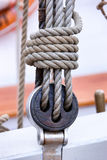 Detail of rigging on a sailboat. Baltic sea Royalty Free Stock Photos
