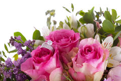 Detail of the rings and bouquet Stock Photography