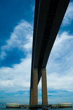 Detail of the Rio-Niteroi bridge. From a boat on the Guanabara bay in Rio de Janeiro, Brazil Stock Image