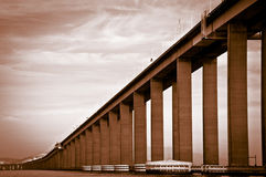 Detail of the Rio-Niteroi bridge. From a boat on the Guanabara bay in Rio de Janeiro, Brazil Royalty Free Stock Photo