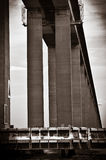 Detail of the Rio-Niteroi bridge. From a boat on the Guanabara bay in Rio de Janeiro, Brazil Royalty Free Stock Photos