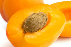 Detail of a ripe apricot cut open Royalty Free Stock Image