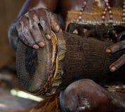 Detail of a ritual drum Asmat tribe. Royalty Free Stock Image