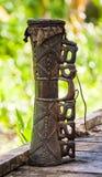 Detail of a ritual drum Asmat tribe. Royalty Free Stock Photos